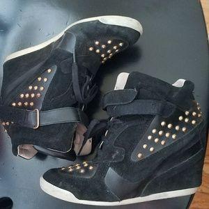Zara Black Studded Wedge Sneakers -EUC!